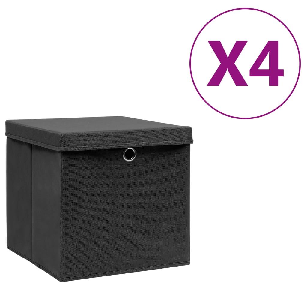 Boîtes de rangement avec couvercles 4 pièces 28x28x28 cm Noir
