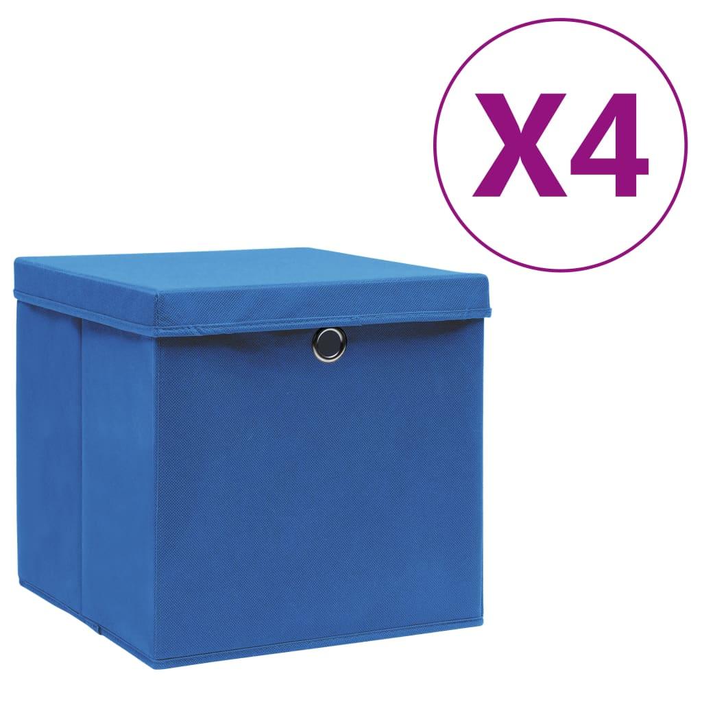 カバー付き収納ボックス4個28x28x28cmブルー