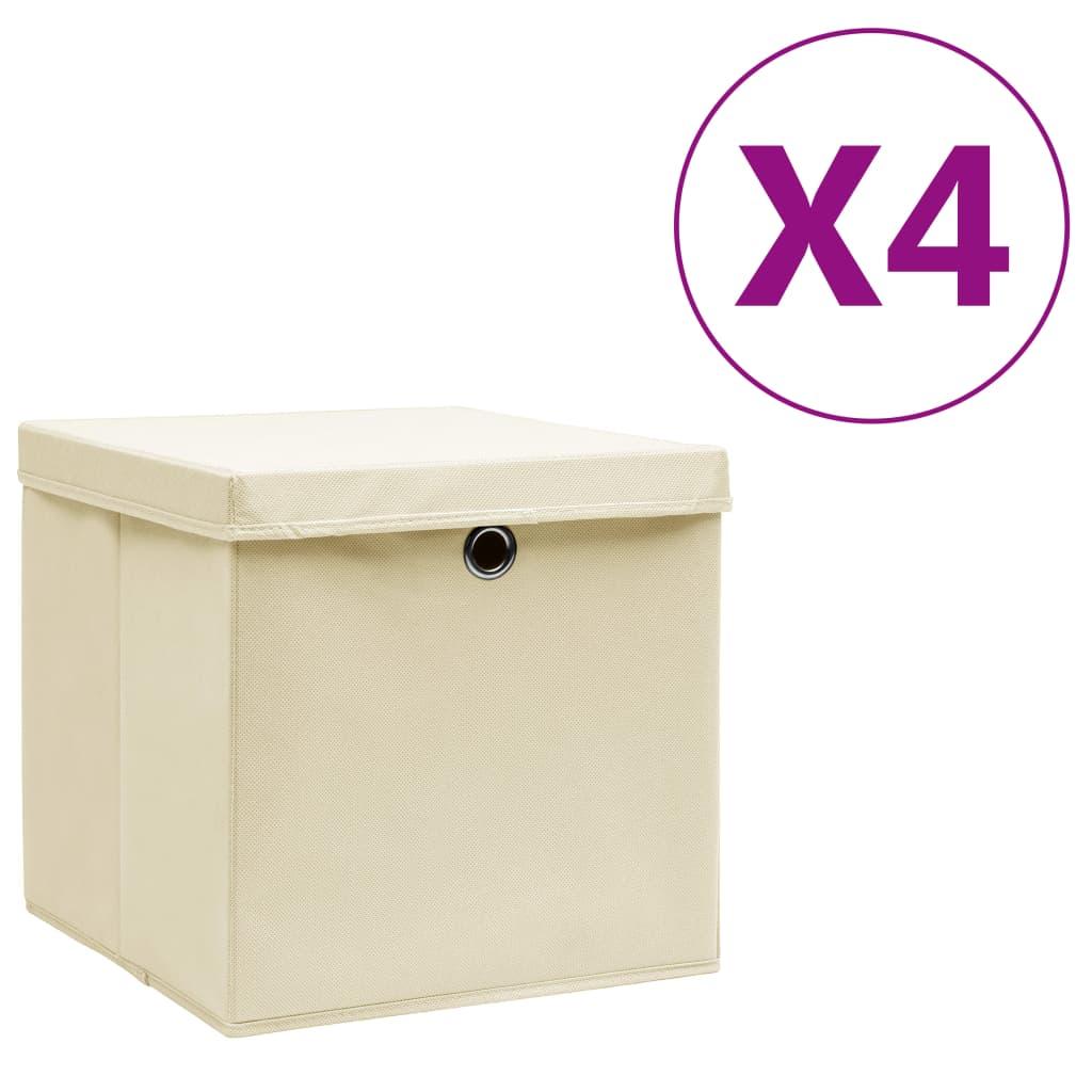 Storage Boxes with Covers 4 pcs 28x28x28 cm Cream