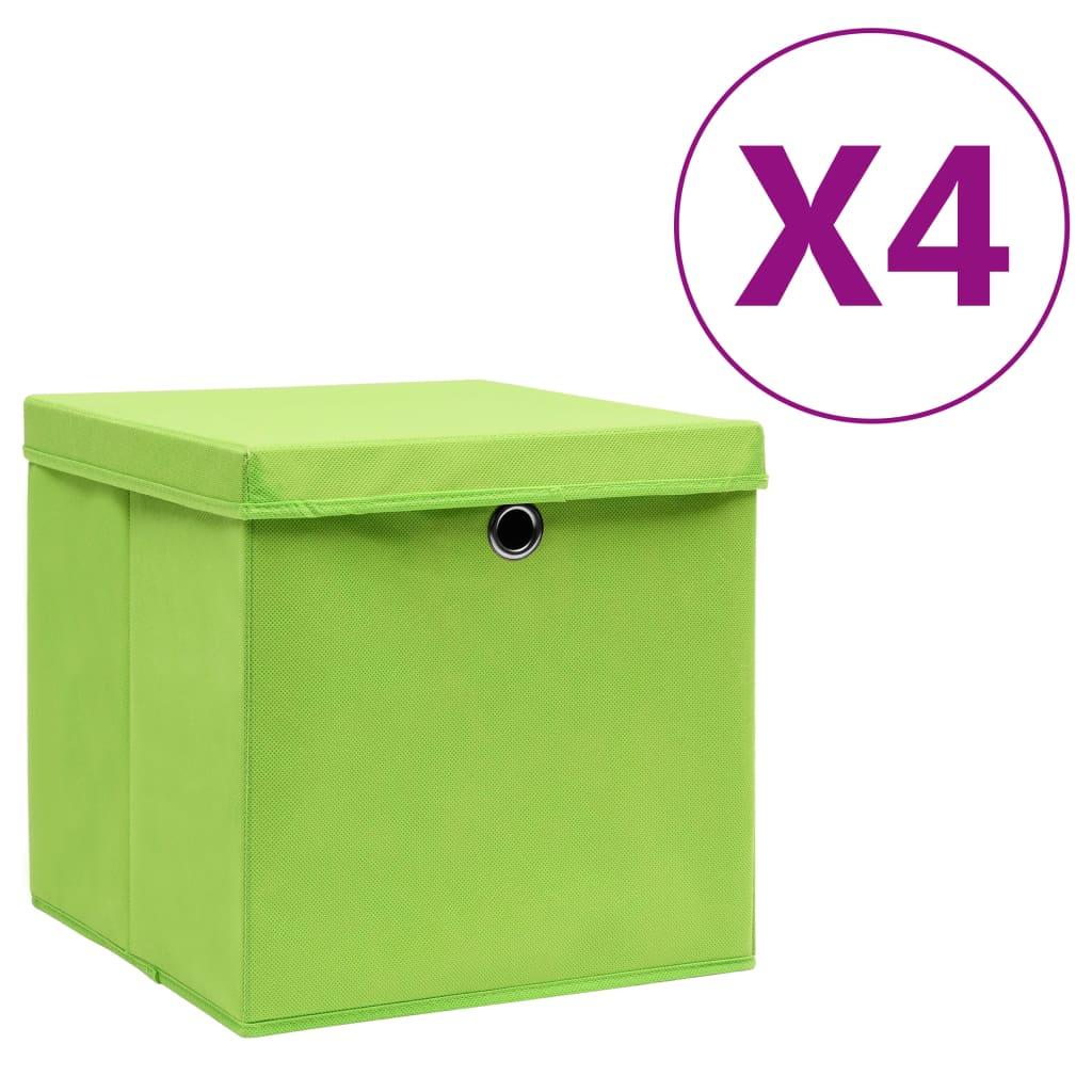 カバー付き収納ボックス4個28x28x28cmグリーン