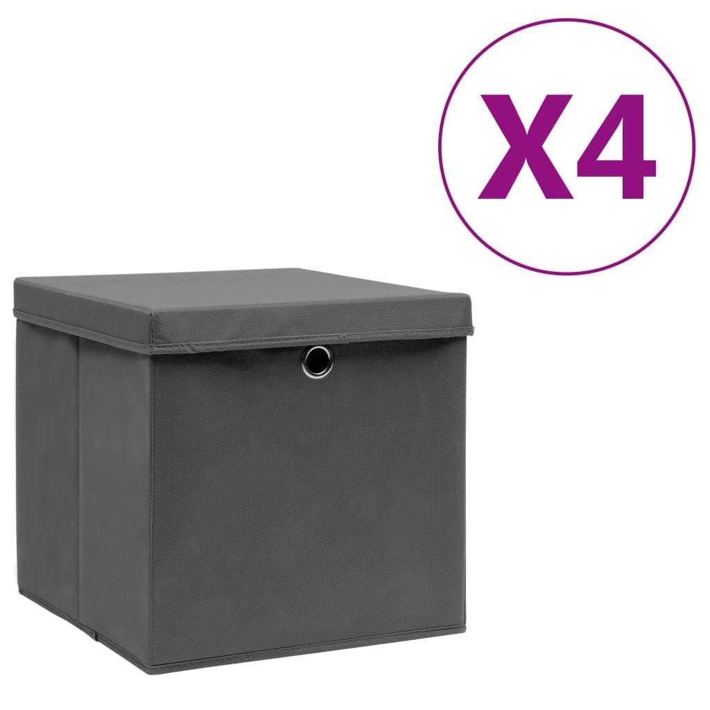 カバー付き収納ボックス4個28x28x28cmグレー