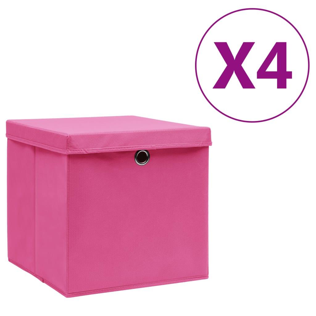 カバー付き収納ボックス4個28x28x28cmピンク