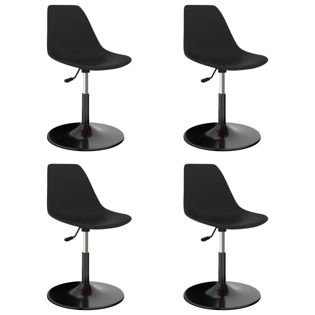 Chaises de salle à manger pivotantes 4 pcs noir PP