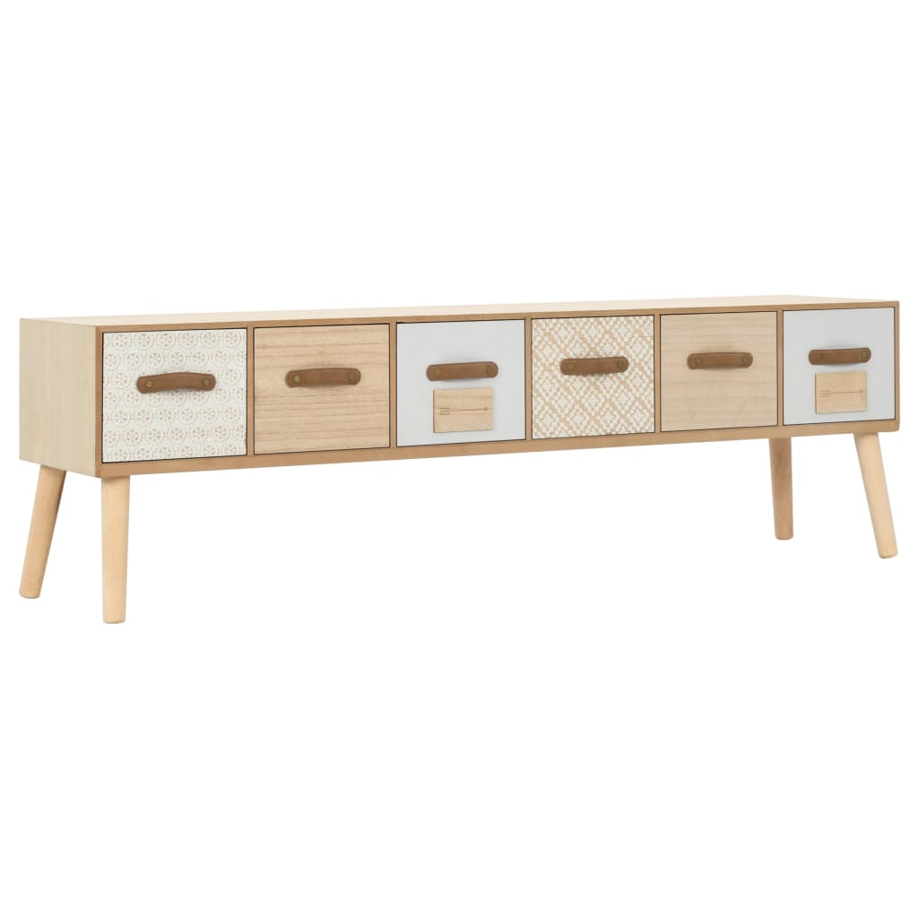 TV Cabinet with 6 Drawers 130x30x40 cm Solid Pinewood