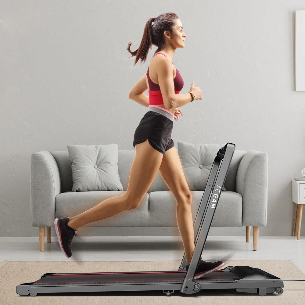 ACGAM T02P Machine de marche intelligente 2 en 1 Tapis roulant pliant pour la marche et la course pour l'entraînement, l'équipement de gymnastique d'entraînement physique, les exercices intérieurs et extérieurs avec télécommande, affichage LED - Version UE