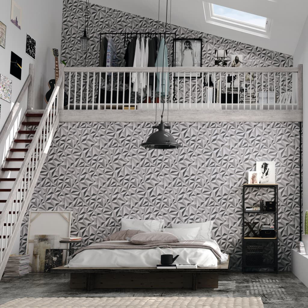 2 pcs Non-woven Wallpaper Rolls White 0.53x10 m Graphic