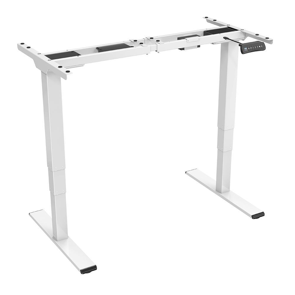 ACGAM ET225E Poste de travail à cadre de bureau debout à pieds à trois étages électriques à deux moteurs, bureau de jeu ergonomique à hauteur réglable - Blanc (cadre seulement)