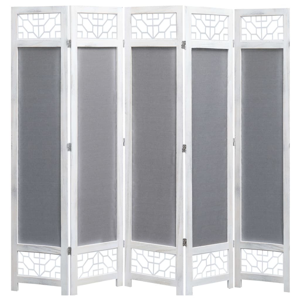 Paravent 5 panneaux tissu gris 175x165 cm
