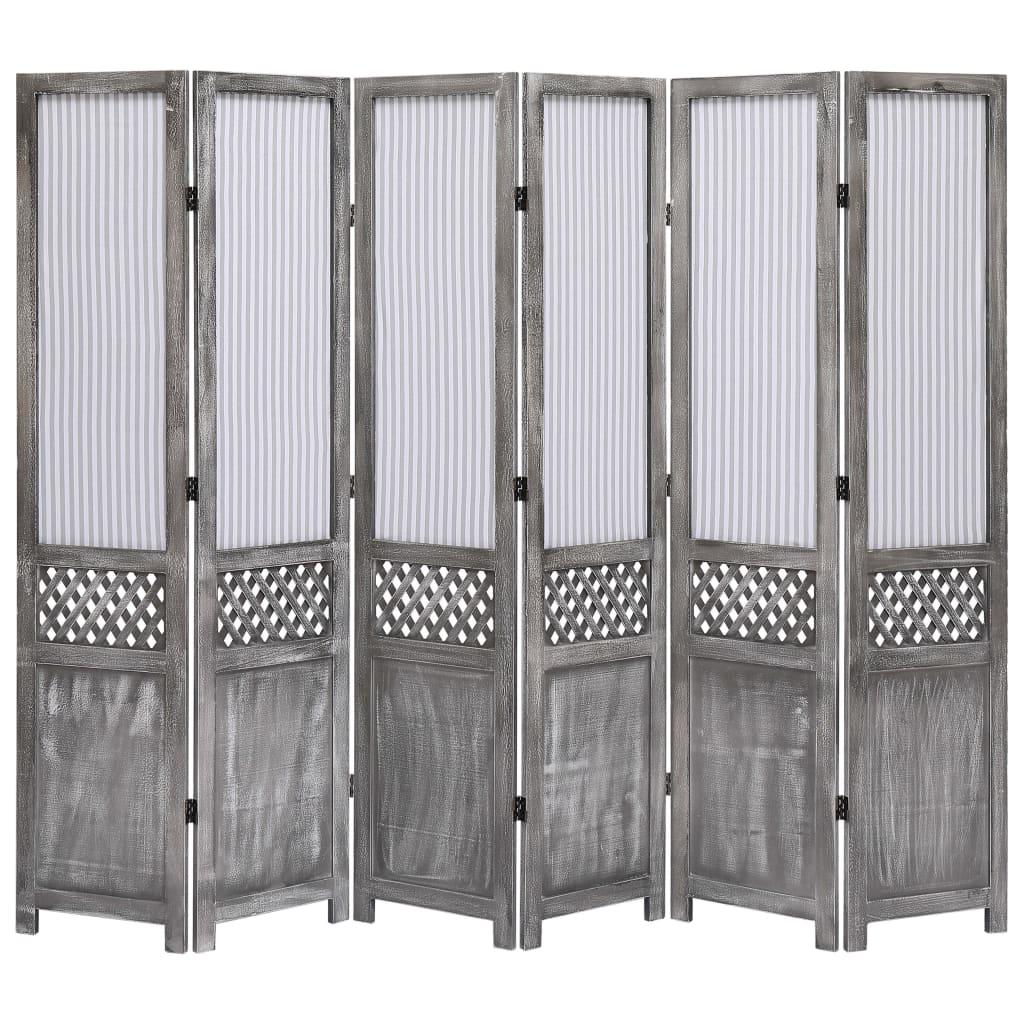 Paravent 6 panneaux tissu gris 210x165 cm