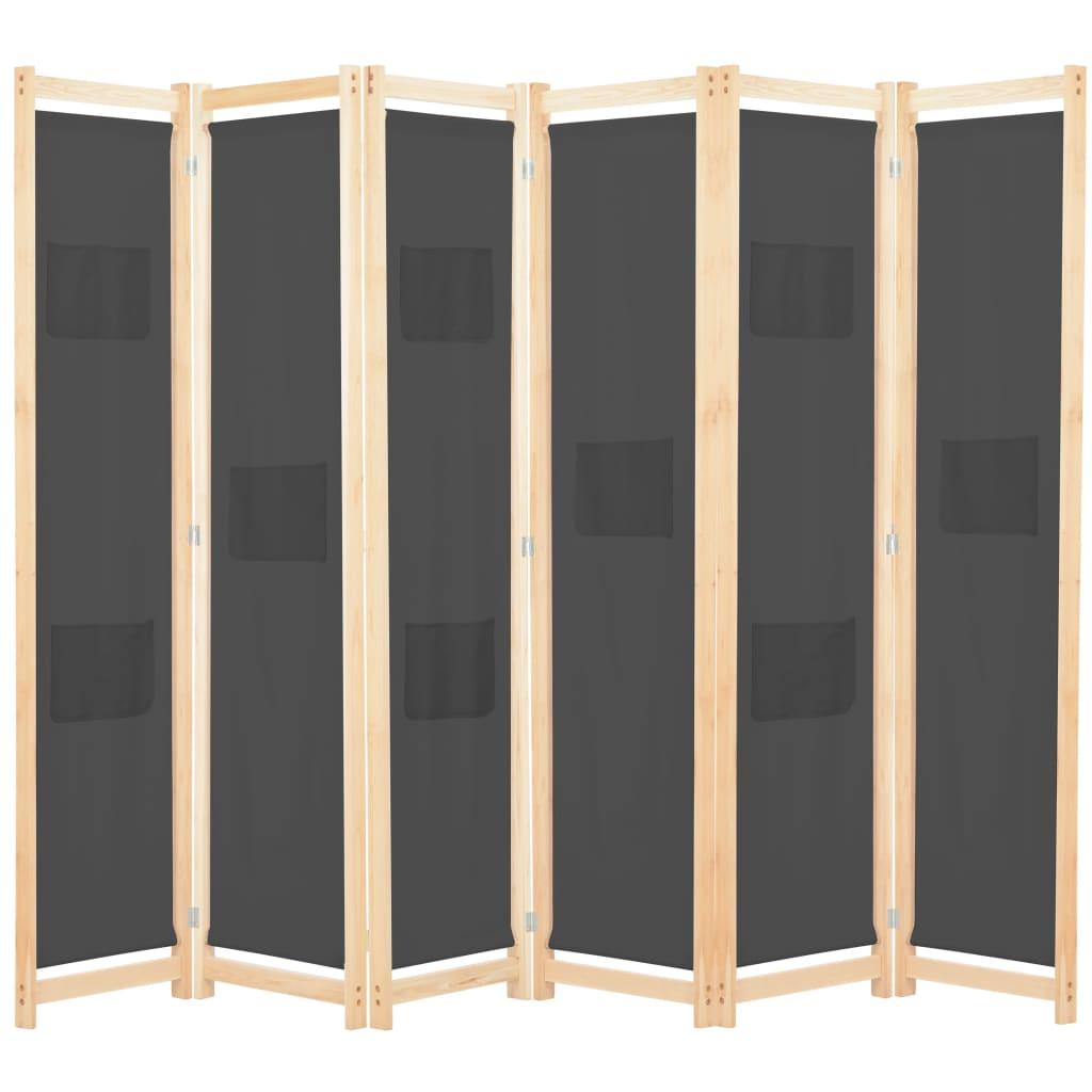 Séparateur de pièce à 6 panneaux en tissu gris 240x170x4 cm