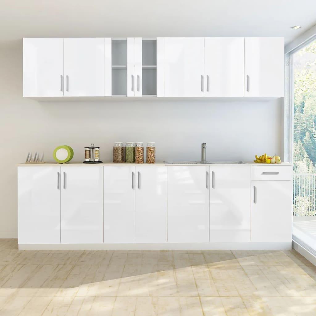Armoire de cuisine 8 pièces blanc brillant 260 cm