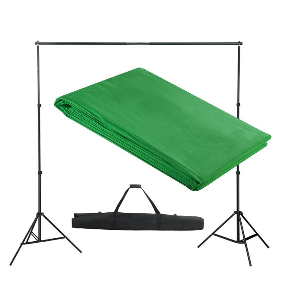 Système de support pour toile de fond 300 x 300 cm Vert
