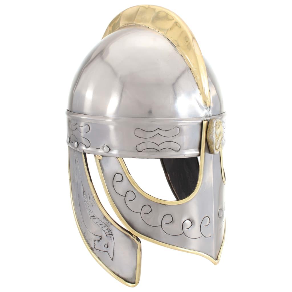 Beowulf sisak antik replika LARP ezüst acél