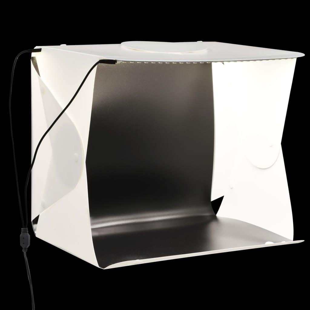 Caisson Lumineux Pliable LED Photo Studio 40x34x37 cm Plastique Blanc