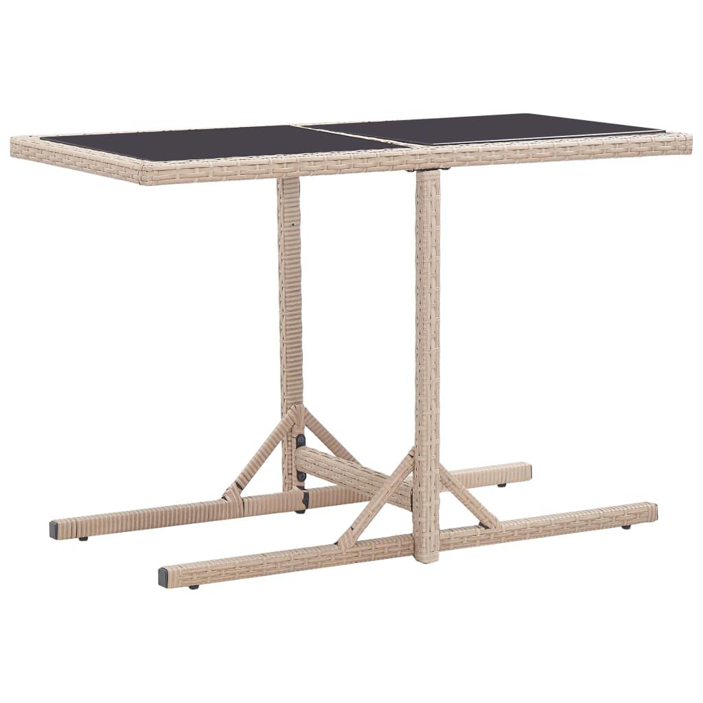 Table de Jardin Beige 110x53x72 cm Verre et Poly Rotin