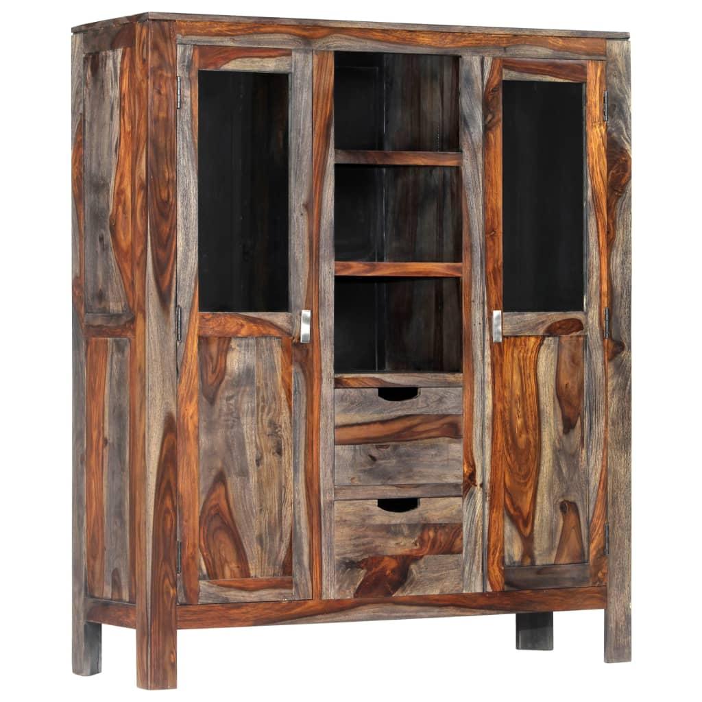 Highboard Gray 118x40x140 cm Sheesham Wood maciço