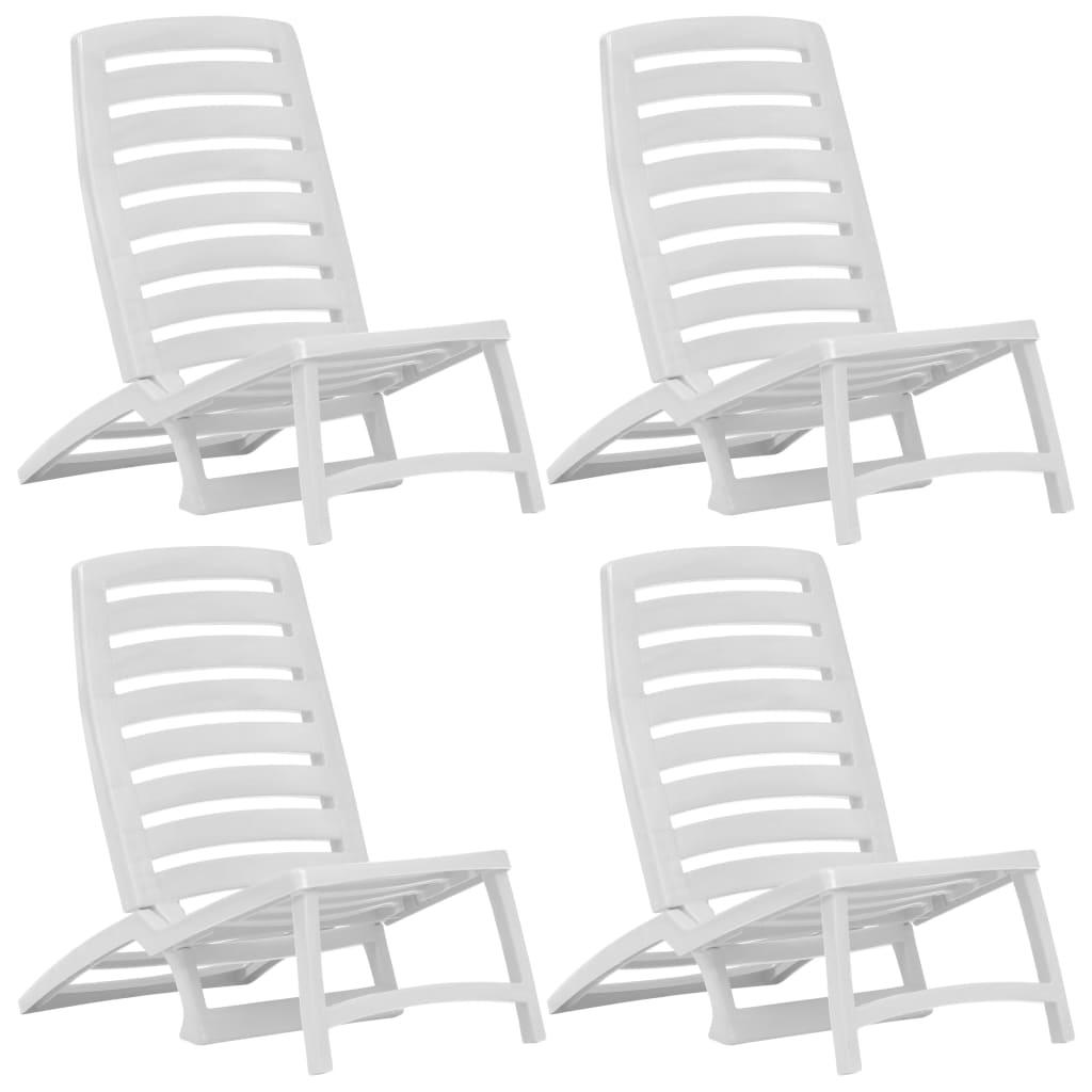 Chaise de plage pliante pour enfants 4 pièces en plastique blanc