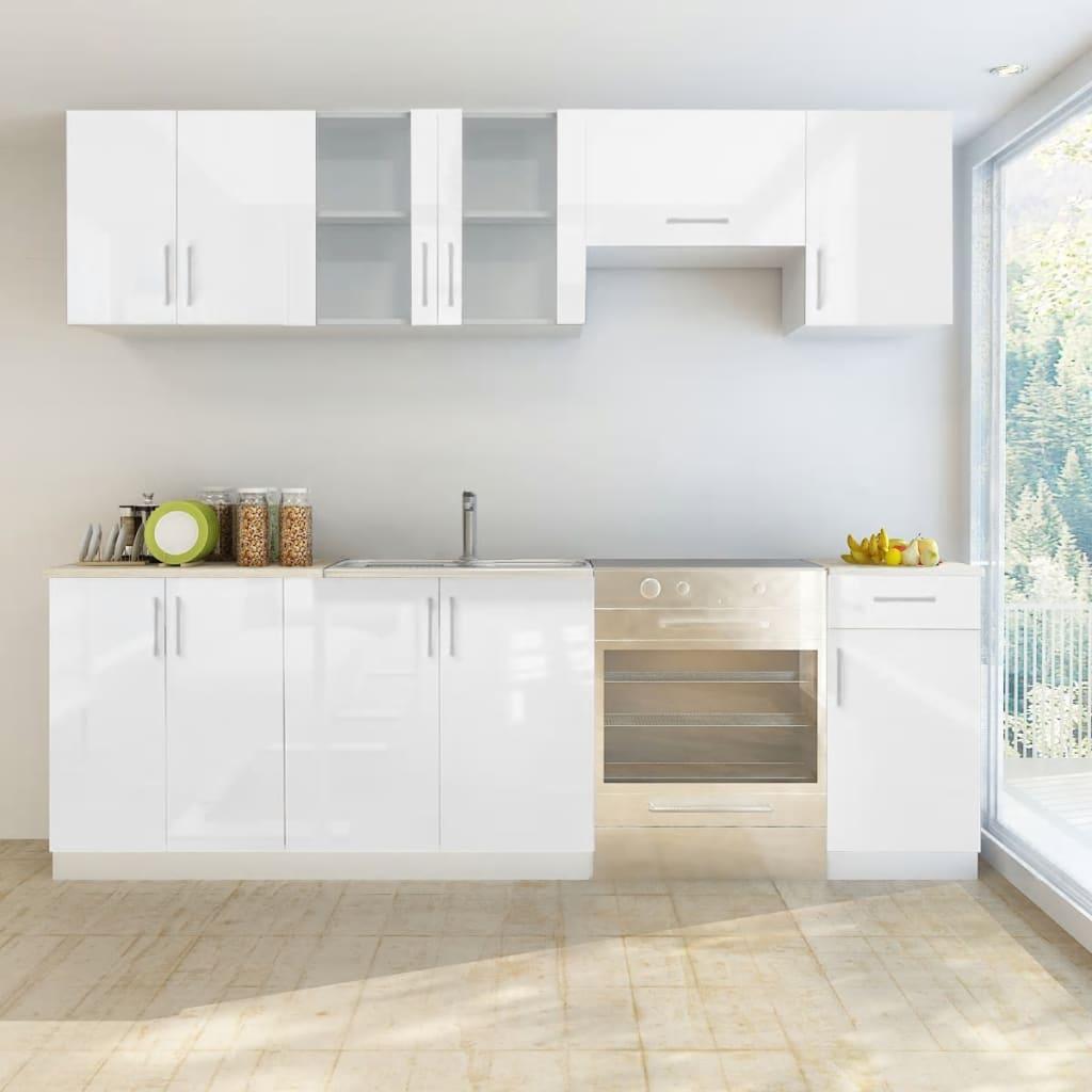 Armoire de cuisine 7 pièces blanc brillant 240 cm