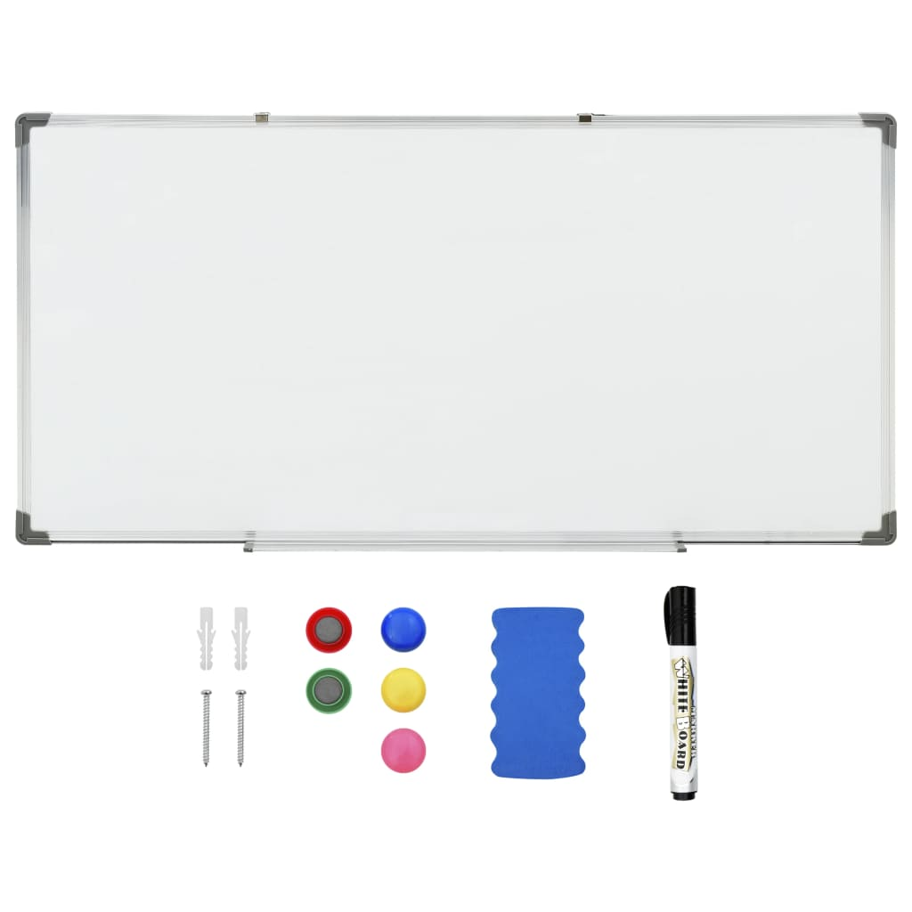 Tableau blanc magnétique effaçable à sec Blanc 120x60 cm Acier