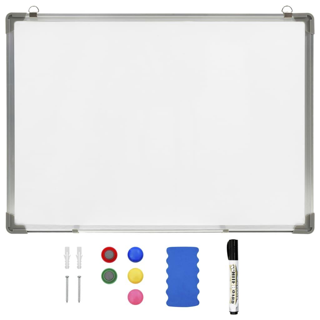 Tableau blanc magnétique effaçable à sec Blanc 90x60 cm Acier