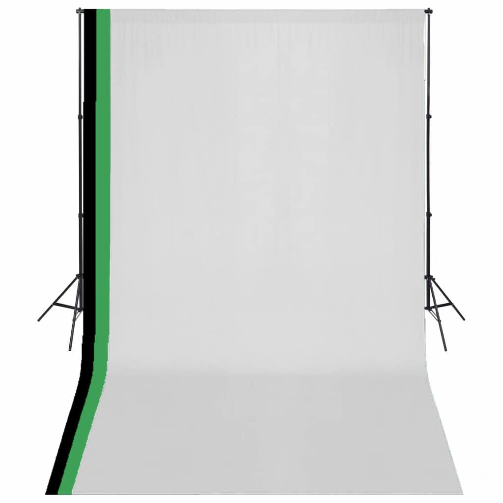 Kit Studio Photo avec 3 Toiles de Fond en Coton Cadre Réglable 3x5m