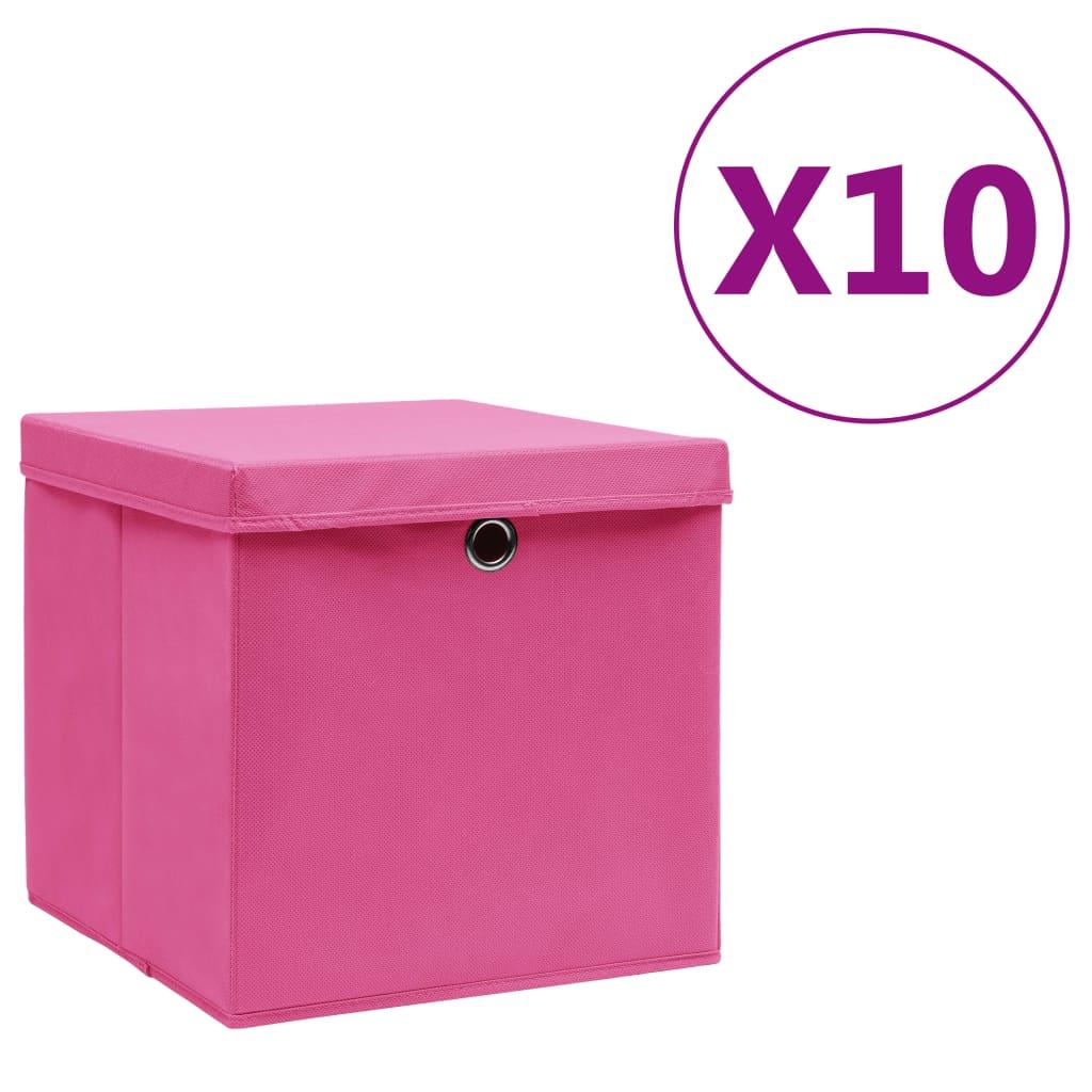 Κουτιά αποθήκευσης με καλύμματα 10 τεμ 28x28x28 cm Ροζ
