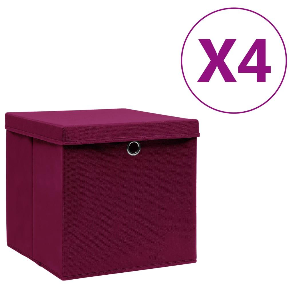 カバー付き収納ボックス4個28x28x28cmダークレッド