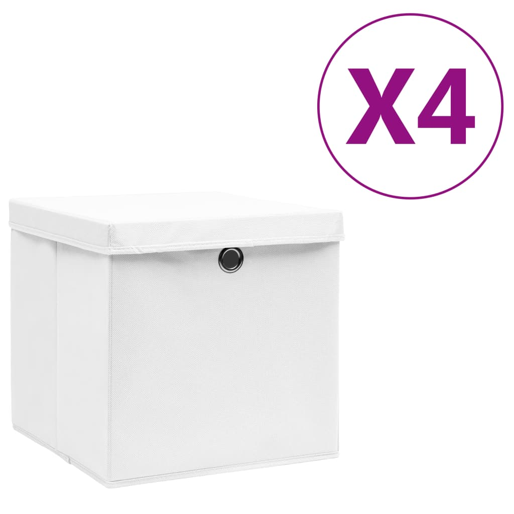 Boîtes de rangement avec couvercles 4 pcs 28x28x28 cm Blanc