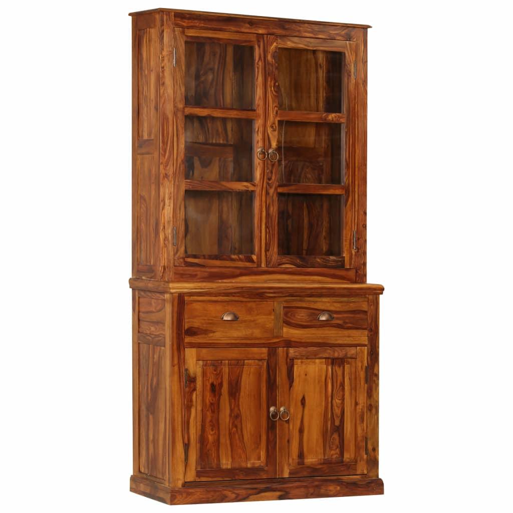 Vitrine Cabinet Solid Sheesham Wood 100x70x200 cm