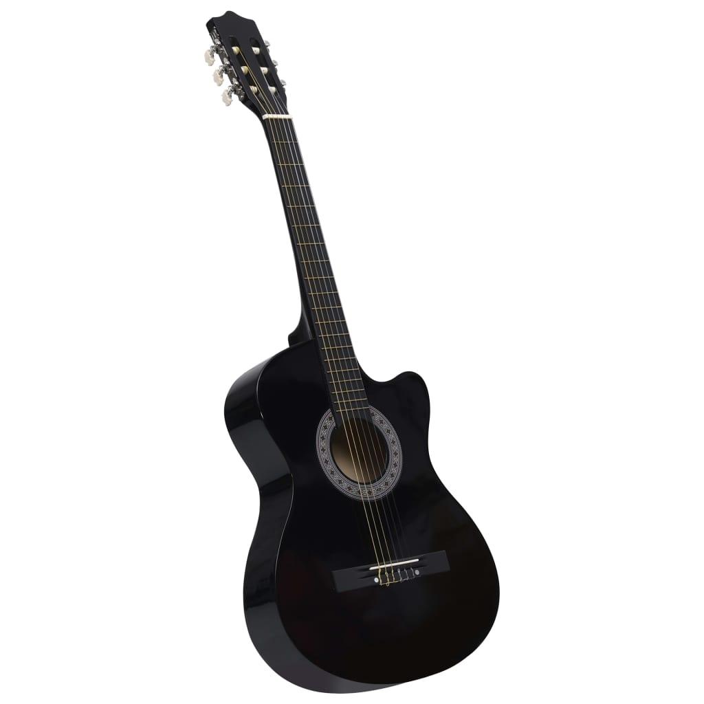 """Guitare Western Acoustic Cutaway avec 6 Cordes Black 38 """""""