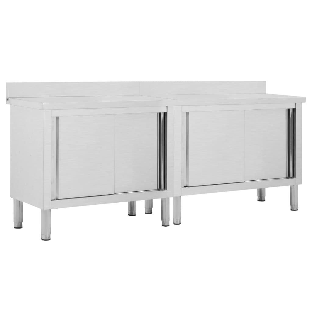 Tables de travail avec portes coulissantes 2pcs 200x50x95cm Inox
