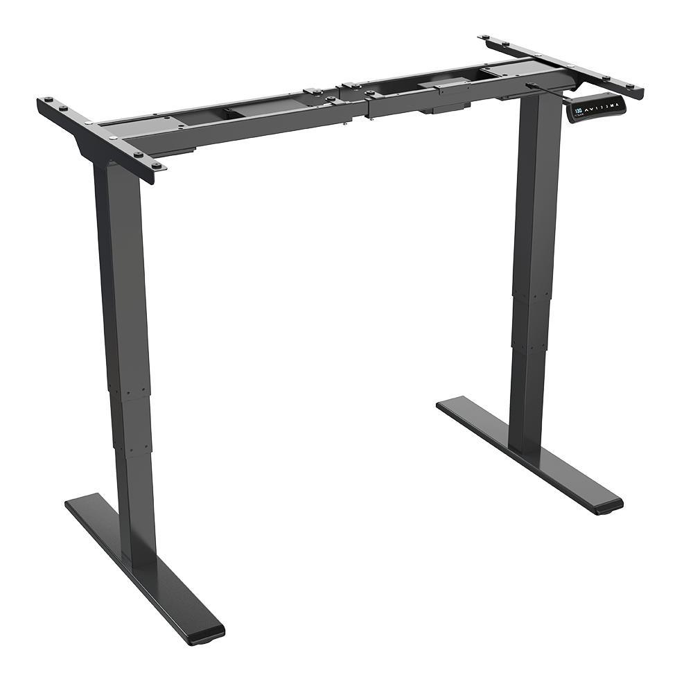 ACGAM ET225E elektromos, kétmotoros, háromlépcsős lábak álló asztali vázas munkaállomás, ergonomikus magasságban állítható asztali játékasztal - fekete (csak váz)