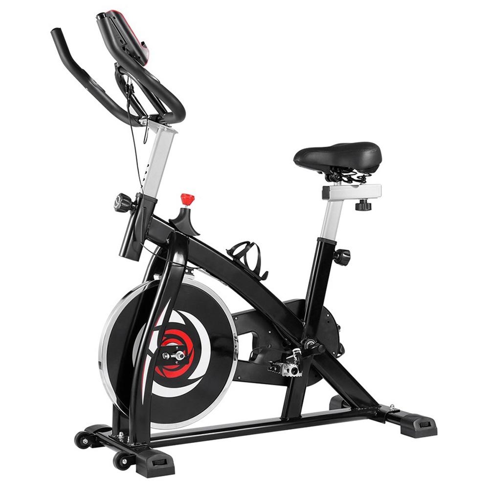 Indoor Bike Bike z 4-kierunkową regulowaną rączką i siedziskiem, stacjonarny przenośny rower do aerobiku w domu - czerwony czarny