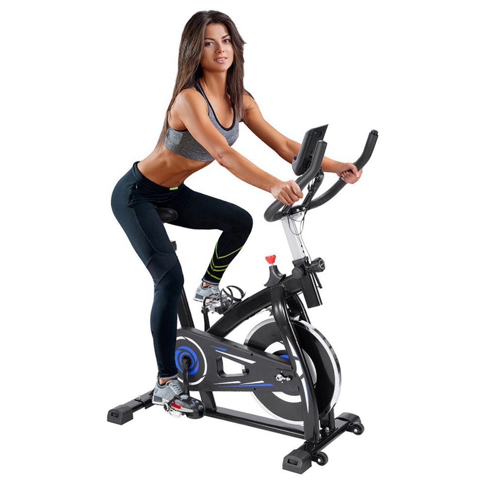 Indoor Cycling Bike mit 4-fach verstellbarem Griff & Sitz Home Fitness Stationäres aerobes tragbares Spinning Bike - Blau