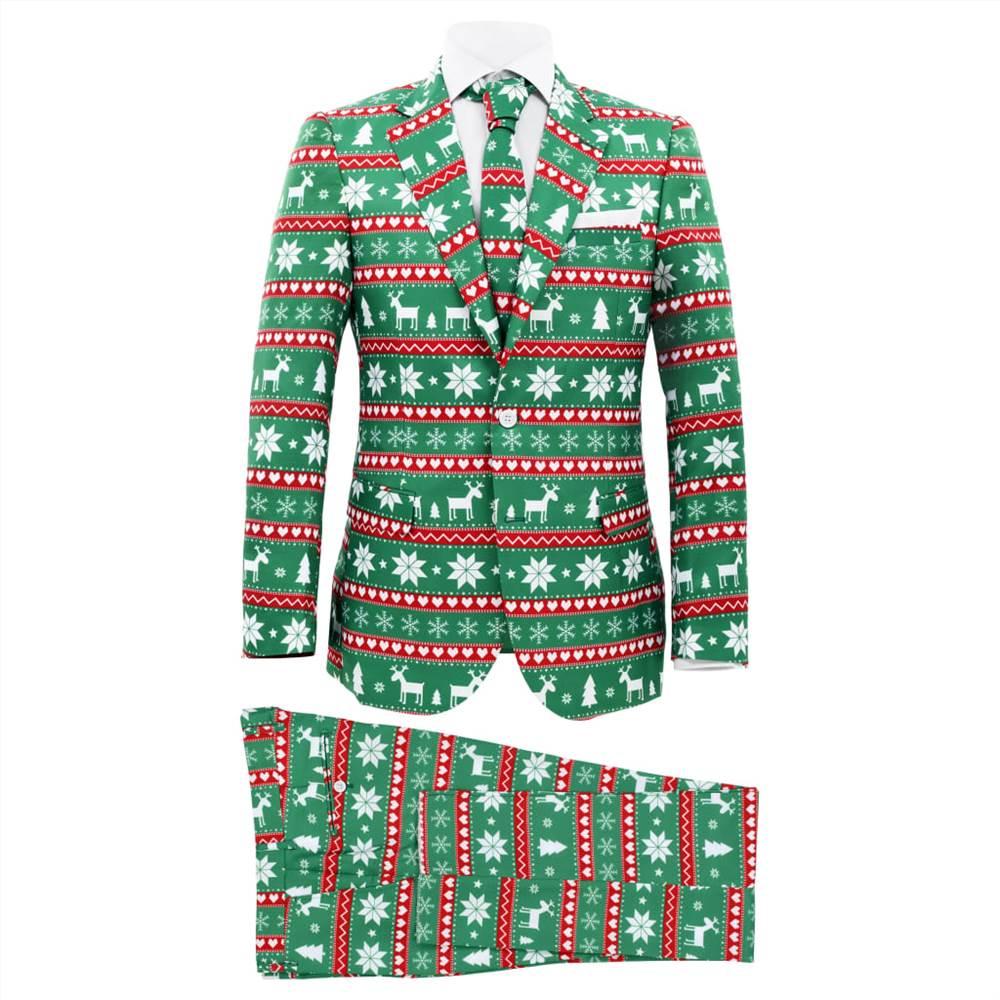 Costume de Noël pour homme 2 pièces avec cravate taille 54 vert festif