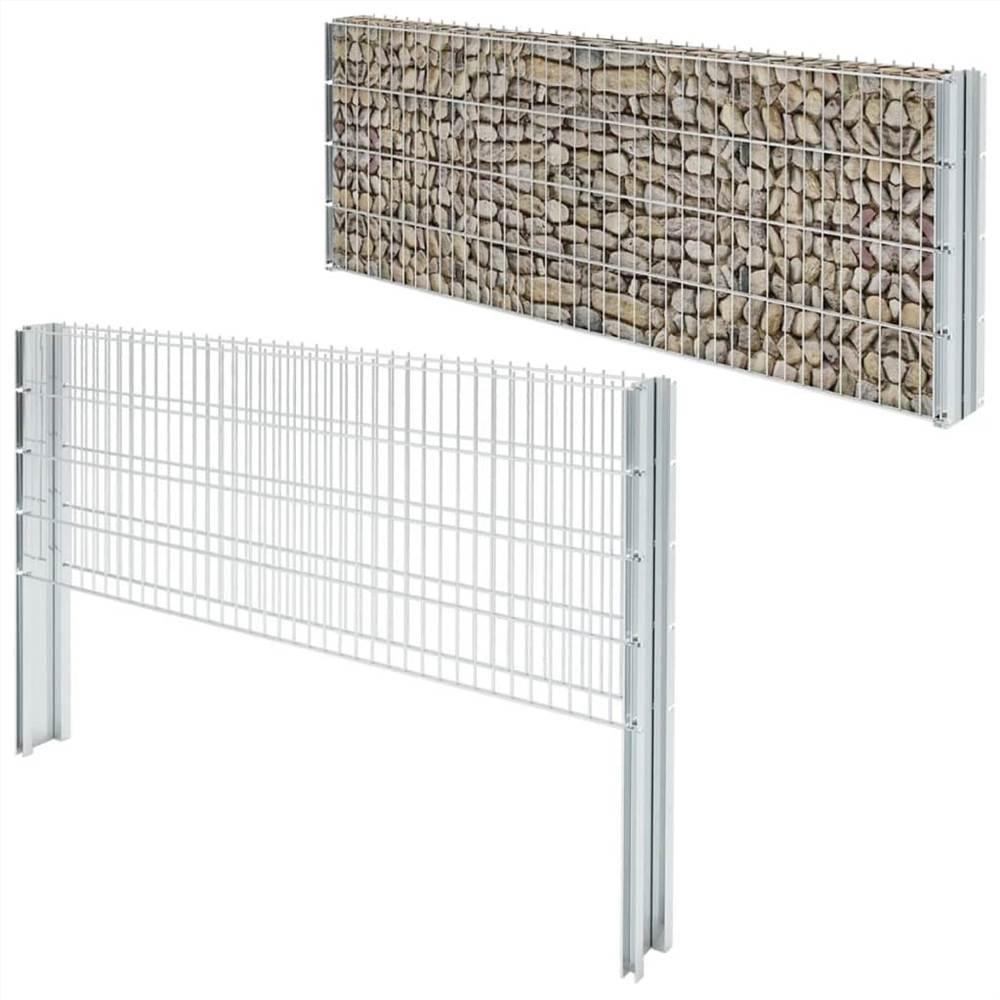 2D Gabion Fence Galvanised Steel 2.008x0.83 m 16 m (Total Length) Silver