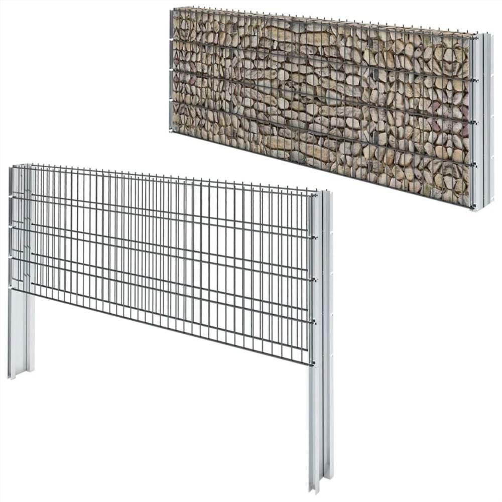 2D Gabion Fence Galvanised Steel 2.008x0.83 m 2 m (Total Length) Grey