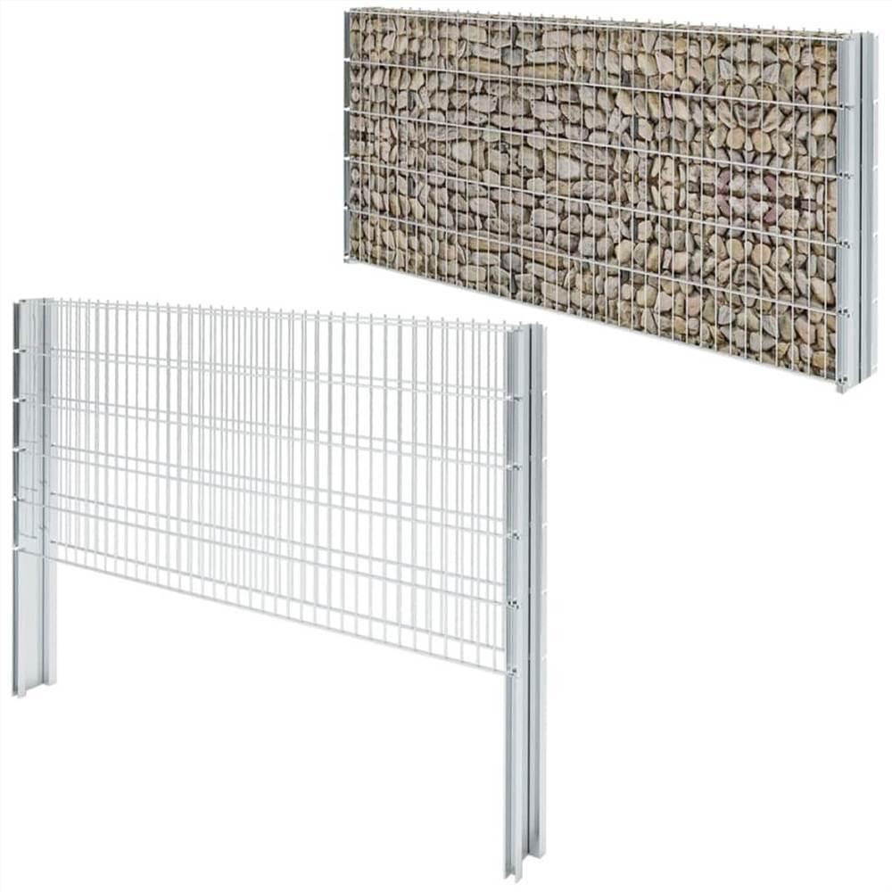 2D Gabion Fence Galvanised Steel 2.008x1.03 m 14 m (Total Length) Silver