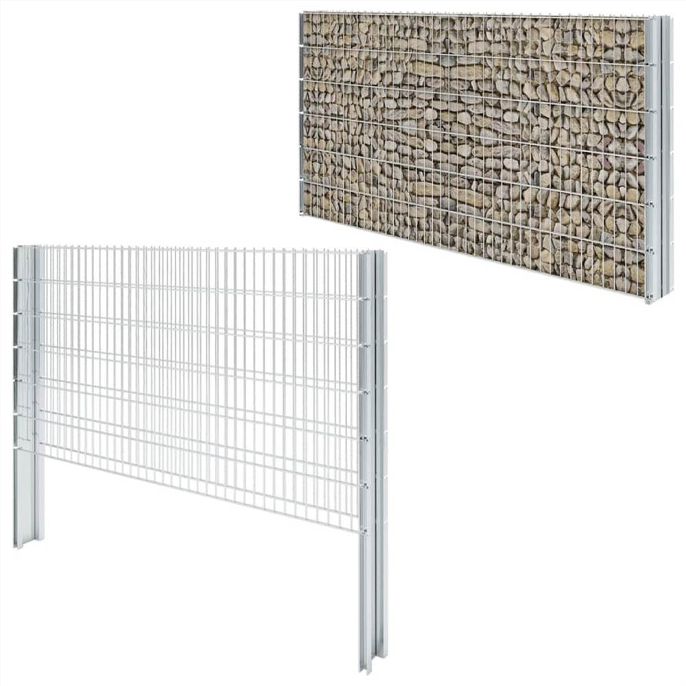 2D Gabion Fence Galvanised Steel 2.008x1.23 m 12 m (Total Length) Silver