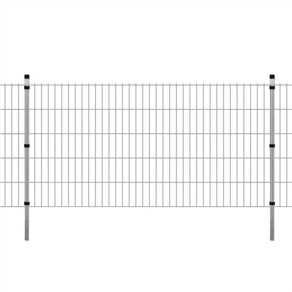 2D Gartenzaun Panels & Pfosten 2008x1030 mm 18 m Silber
