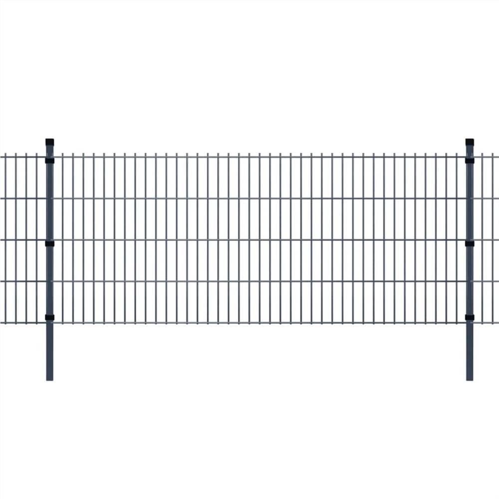 2D Garden Fence Panels & Posts 2008x1030 mm 4 m Grey