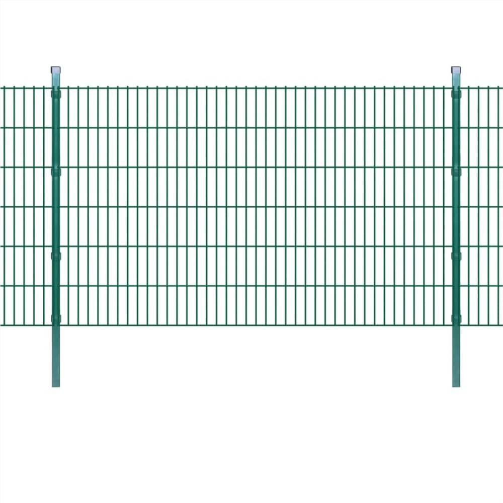 2D Garden Fence Panels & Posts 2008x1230 mm 10 m Green
