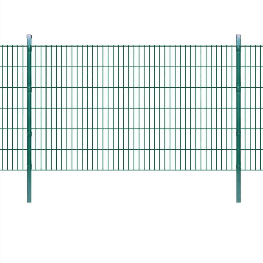 2D Garden Fence Panels & Posts 2008x1230 mm 12 m Green