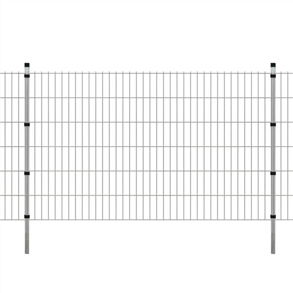 2D Garden Fence Panels & Posts 2008x1230 mm 12 m Silver
