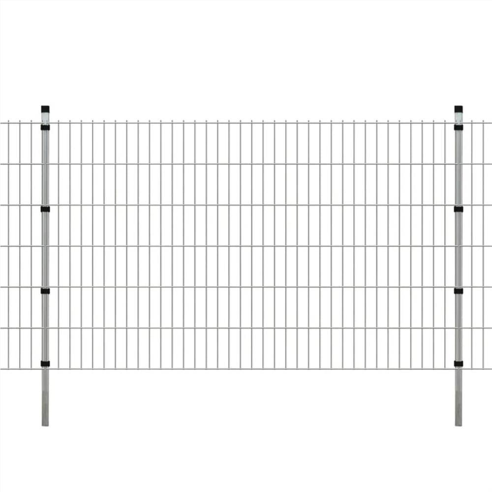 2D Garden Fence Panels & Posts 2008x1230 mm 18 m Silver