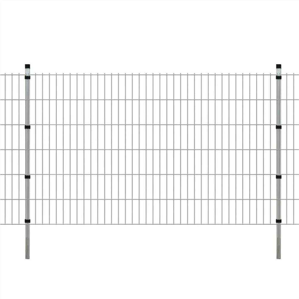 2D Garden Fence Panels & Posts 2008x1230 mm 8 m Silver