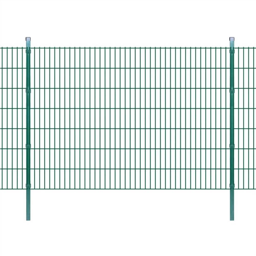 2D Garden Fence Panels & Posts 2008x1430 mm 6 m Green