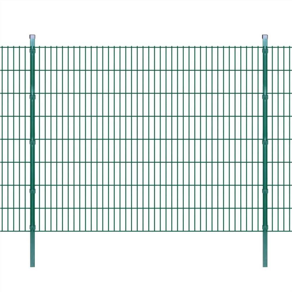 2D Garden Fence Panels & Posts 2008x1630 mm 20 m Green