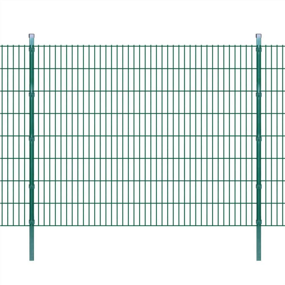 2D Gartenzaun Paneele & Pfosten 2008x1630 mm 38 m Grün