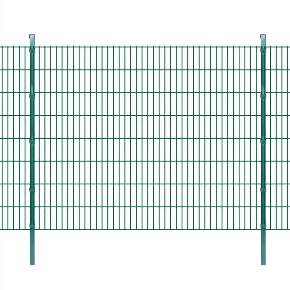 2D Garden Fence Panels & Posts 2008x1630 mm 42 m Green